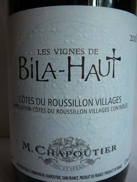 Les Vignes de Bila Haut, Côtes du Rousillon Villages, 2009