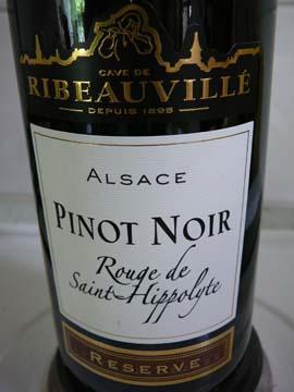 Pinot Noir, Rouge de St-Hippolyte Réserve, Cave de Ribeauvillé, 2009