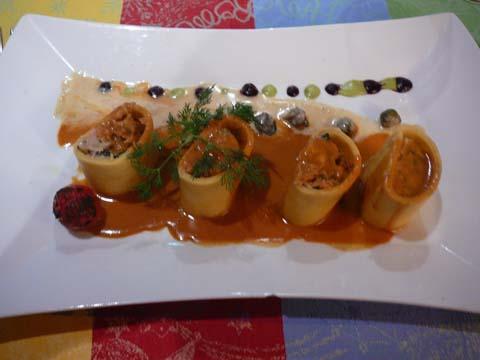 Cannelloni d'aile de raie en effiloché
