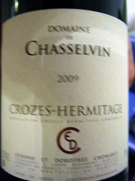Crozes-Hermitage Domaine de Chasselvin 2009