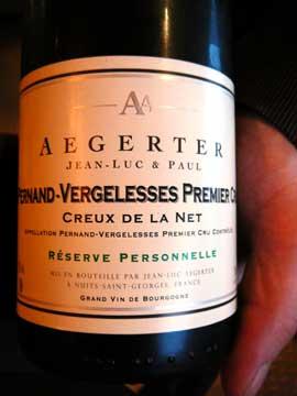 Pernand Vergelesses Premier Cru Creux de la Net Jean-Luc Aegerter 2011