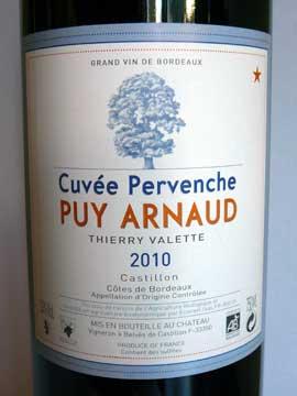 Cuvée Pervenche Puy Arnaud 2010