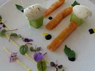 Filet de féra du lac Léman cuit à blanc au beurre de Savagnin, déclinaison de texture entre le petit-pois et le génépi